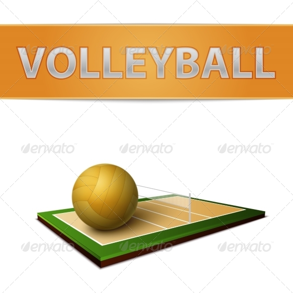 GraphicRiver Volleyball Ball and Field Emblem 7103137