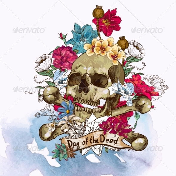 GraphicRiver Skull and Flowers Vector Illustration 7103168