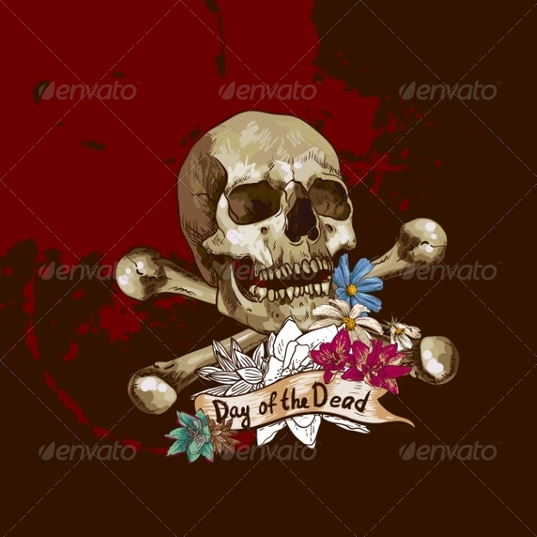 GraphicRiver Skull and Flowers Vector Illustration 7103213
