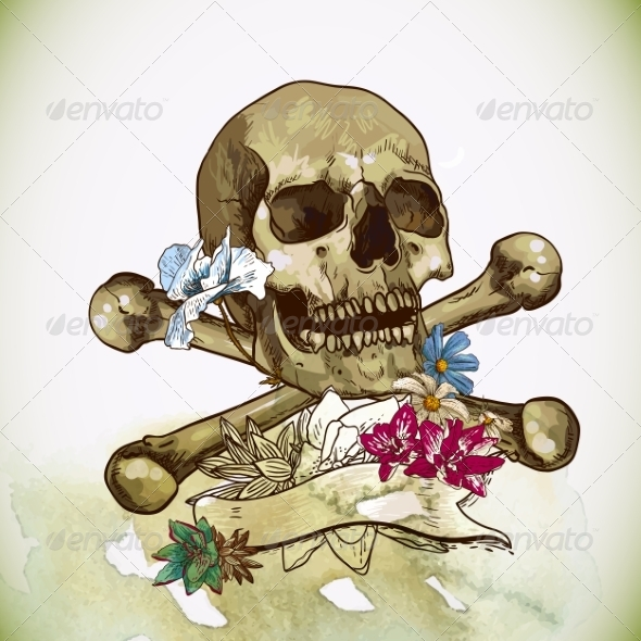 GraphicRiver Skull and Flowers Vector Illustration 7103234