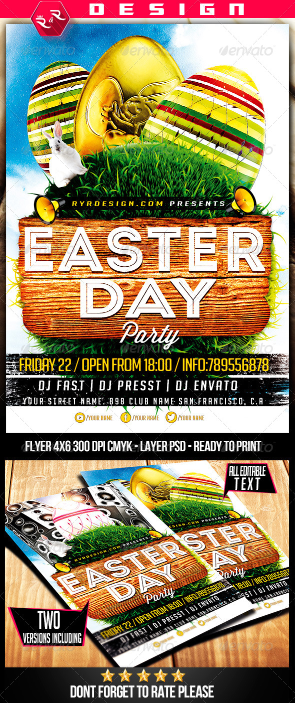 GraphicRiver Easter Party Flyer Template 7068282