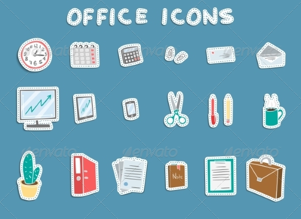 GraphicRiver Business Office Sticker Icons Set 7103540