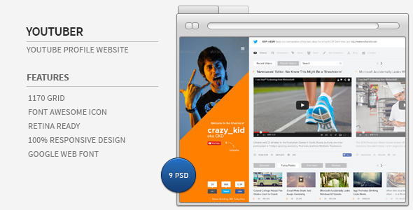 ThemeForest Youtuber Youtube Profile Website 7103568
