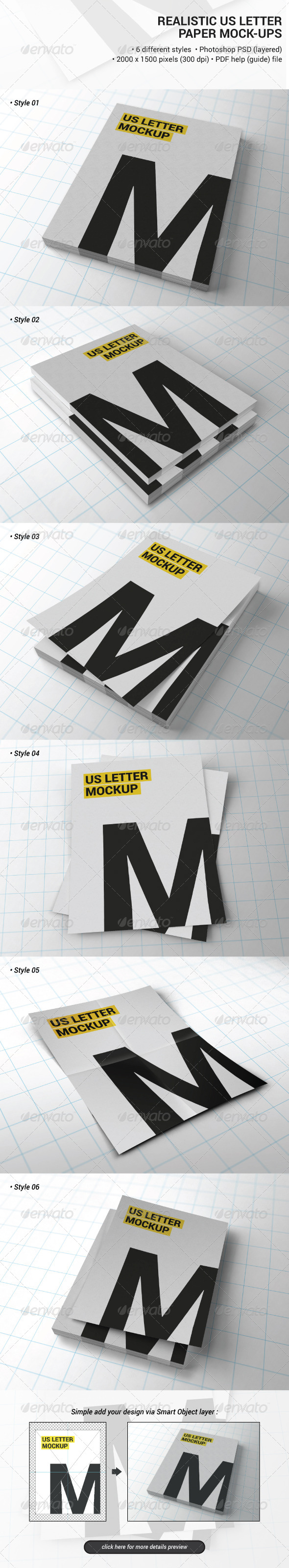 GraphicRiver Realistic Us Letter Paper Mock-ups 7103678