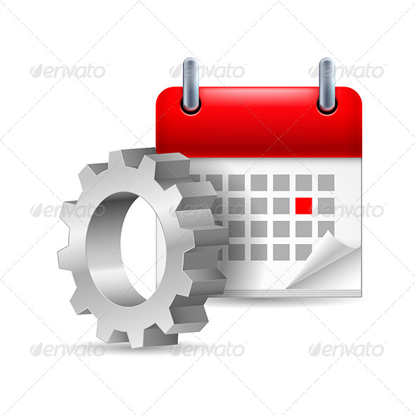 GraphicRiver Gear Wheel and Calendar 7103854
