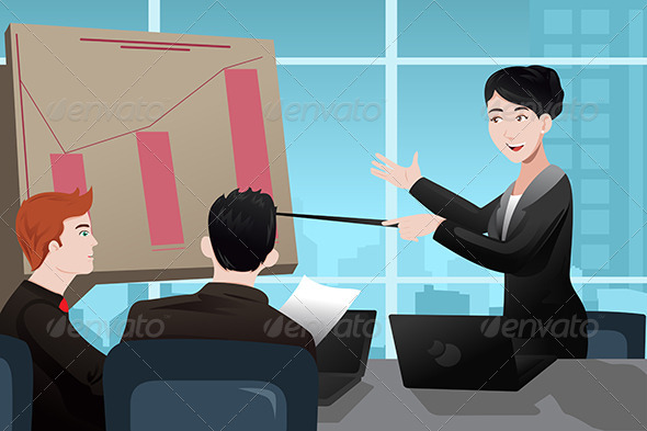 GraphicRiver Businesswoman Making a Presentation 7104111