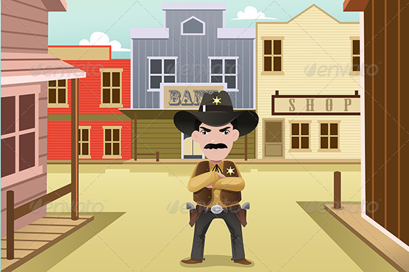 GraphicRiver Sheriff Standing on an Old Western Town 7104112