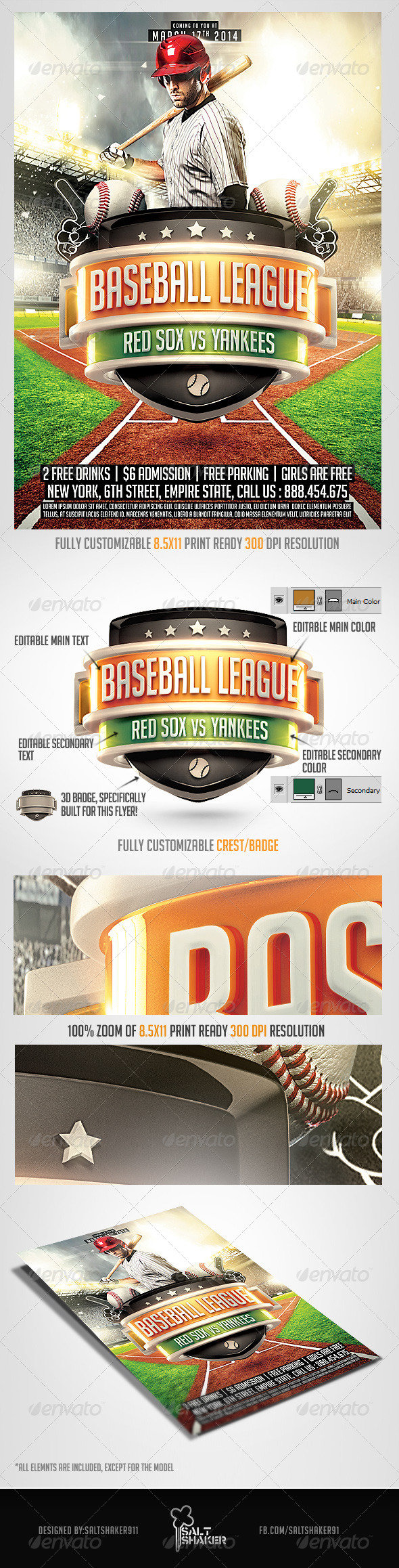 GraphicRiver Baseball League Flyer Template 7104401