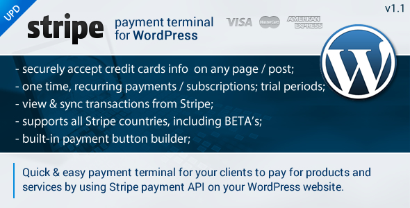Accepting credit cards on your site has never been easier! Stripe Payment Terminal Wordpress is a wordpress plugin designed to make it easy for you to accept pa