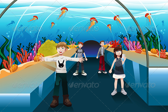 GraphicRiver Kids Looking at Jellyfish 7104557
