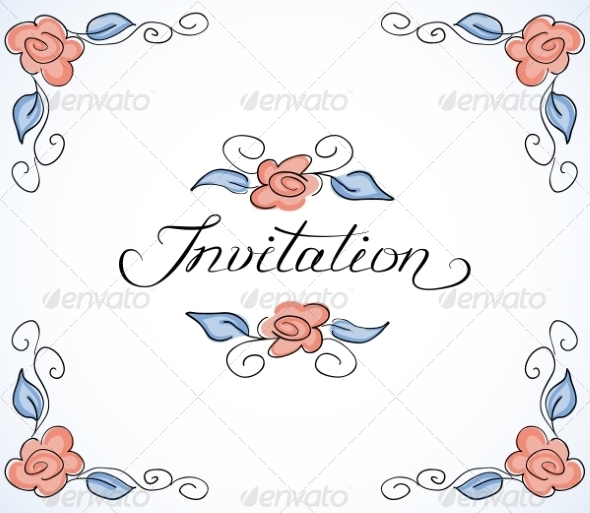 GraphicRiver Invitation Card with Floral Pattern 7104679