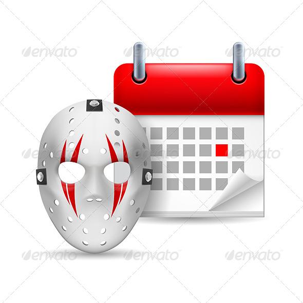 GraphicRiver Hockey Mask and Calendar 7104688