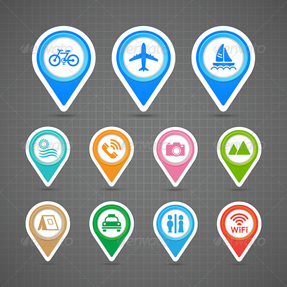 GraphicRiver Map Pins Travel Icons Set 7104712
