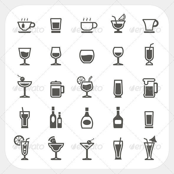 GraphicRiver Drink and Beverage Icons Set 7104750
