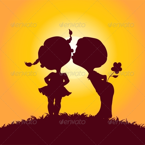 Silhouettes of Kissing Boy and Girl