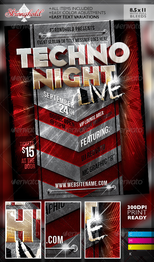GraphicRiver Live Techno Party Event Flyer Template 7104856