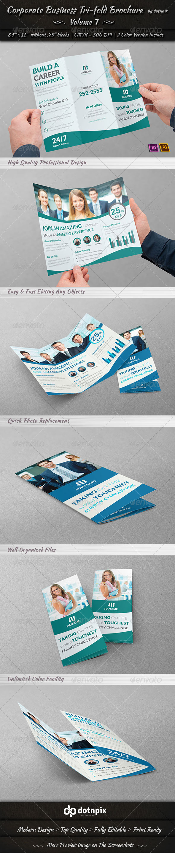 Corporate Business Tri-Fold Brochure Volume 7