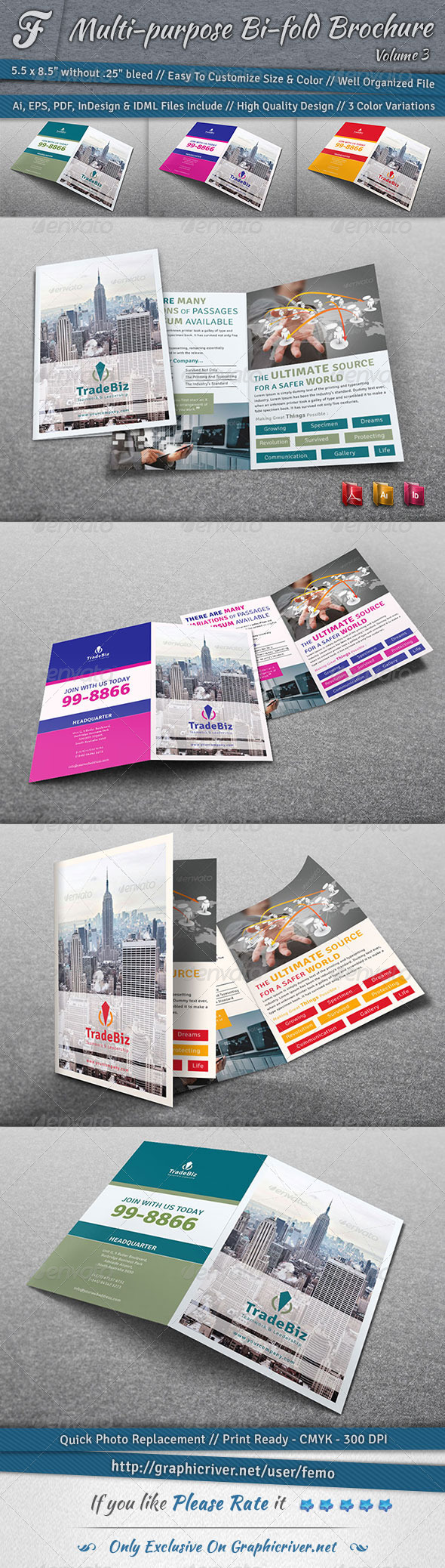 GraphicRiver Multi-purpose Bi-fold Brochure Volume 3 7070289