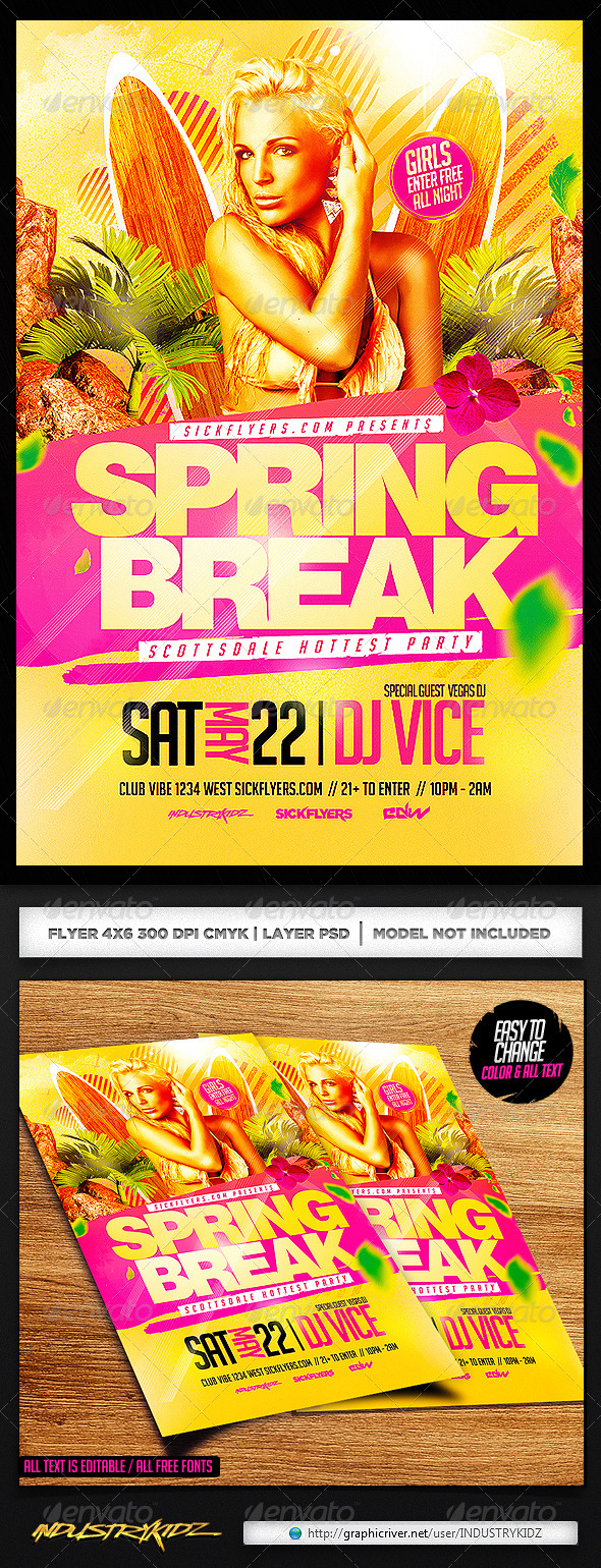 Spring Break Flyer Template PSD