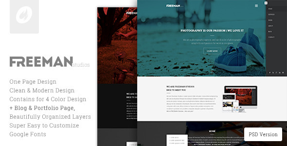 Freeman Studios - Creative One Page PSD Template - Photography Creative