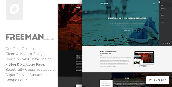 Freeman Studios - Creative One Page PSD Template