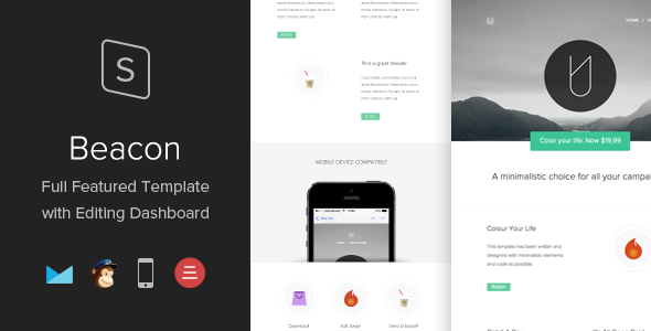 Beacon Responsive Template with Editing Dashboard - Newsletters Email Templates