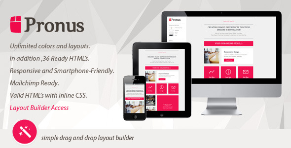 PRONUS - Flat Responsive Email With Layout Builder