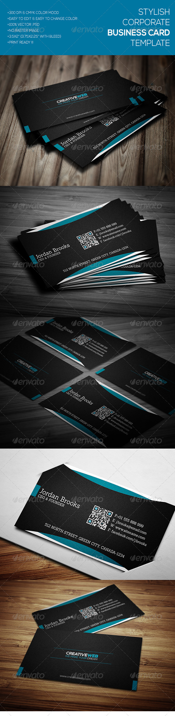 GraphicRiver Stylish Corporate Business Card Template 7106997