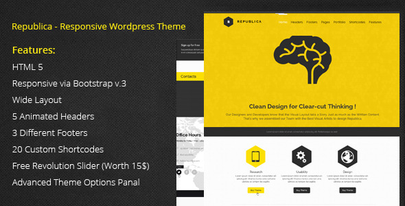 ThemeForest Republica Responsive Corporate WordPress Theme 6726628