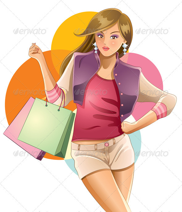 Sexy Girl Love Shopping - People Characters