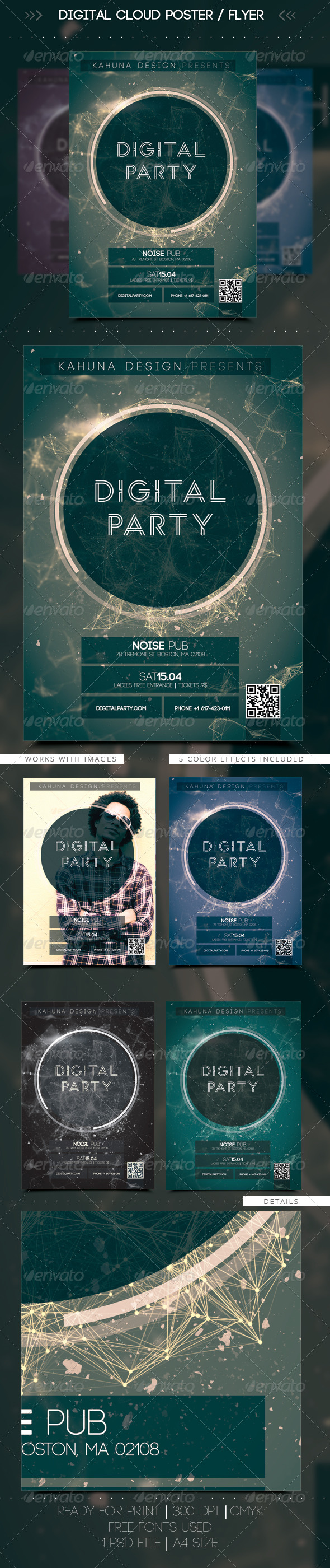 Digital Cloud Poster / Flyer - Clubs & Parties Events