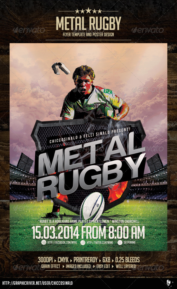 GraphicRiver Metal Rugby Flyer Template 7084332