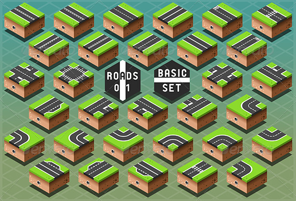 GraphicRiver Isometric Roads on Green Terrain 7110494