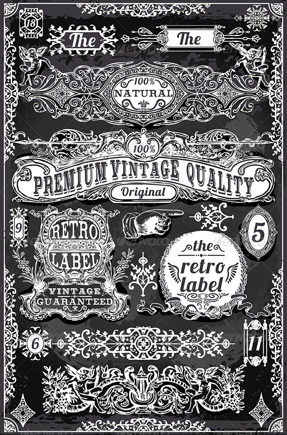 GraphicRiver Vintage Hand Drawn Banners and Labels 7110916