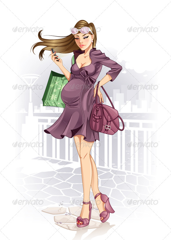 GraphicRiver Shopping Pregnant Woman 7111110