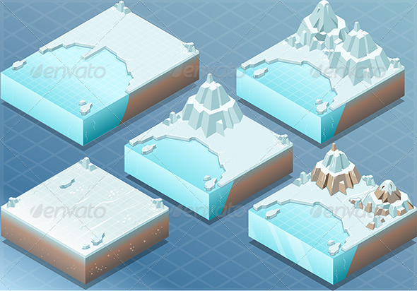 GraphicRiver Isometric Arctic Terrain with Iceberg and Mount 7111145