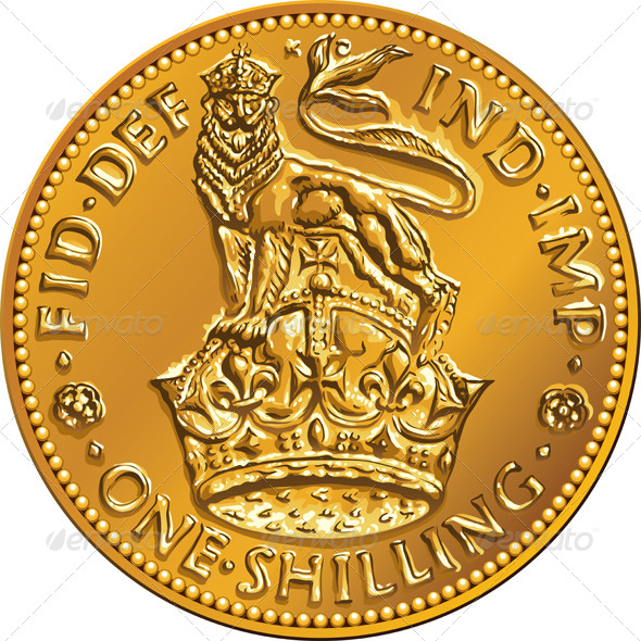 GraphicRiver British Money Gold Coin Shilling with Lion Crown 7111339