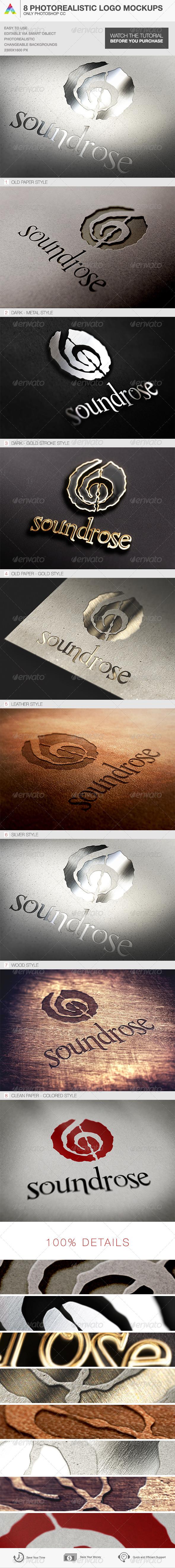 GraphicRiver 8 Photorealistic Logo Mockups 7111538