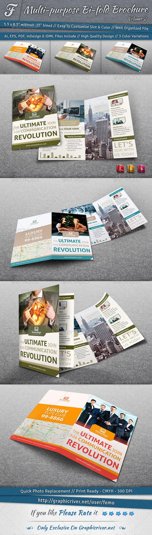 GraphicRiver Multi-purpose Bi-fold Brochure Volume 2 7087689