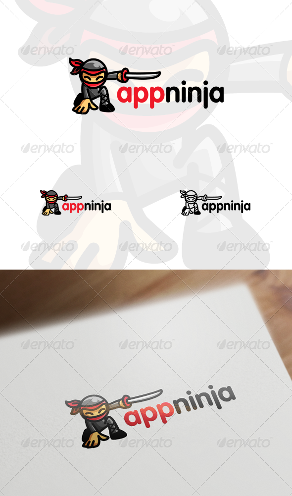 App Ninja - Ninja Mascot / Character Logo
