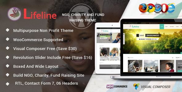 ThemeForest Lifeline NGO Charity Fund Raising Wordpress Theme 7044503