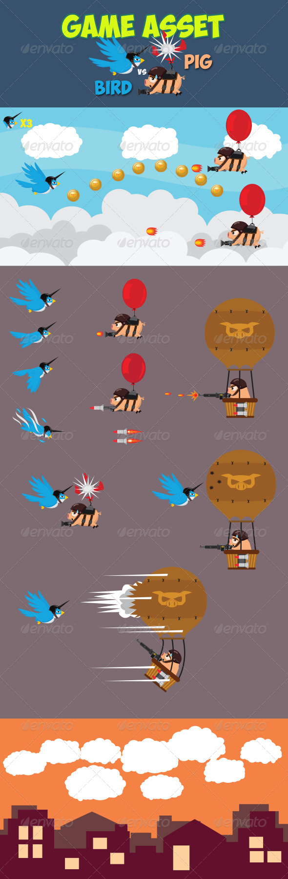 GraphicRiver Bird Versus Pig Game Asset 7112170
