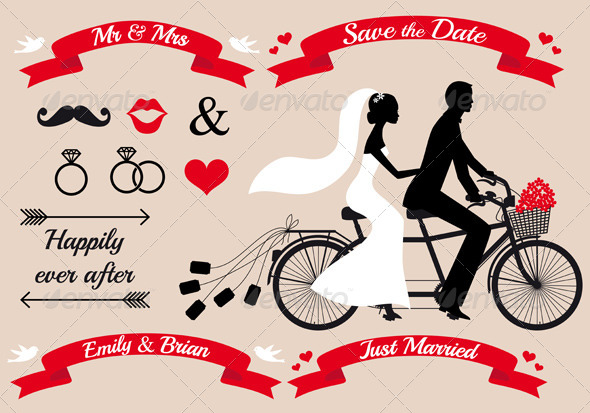 Wedding Couple On Tandem Bicycle, Vector