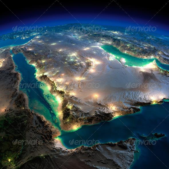 Night Earth. Saudi Arabia