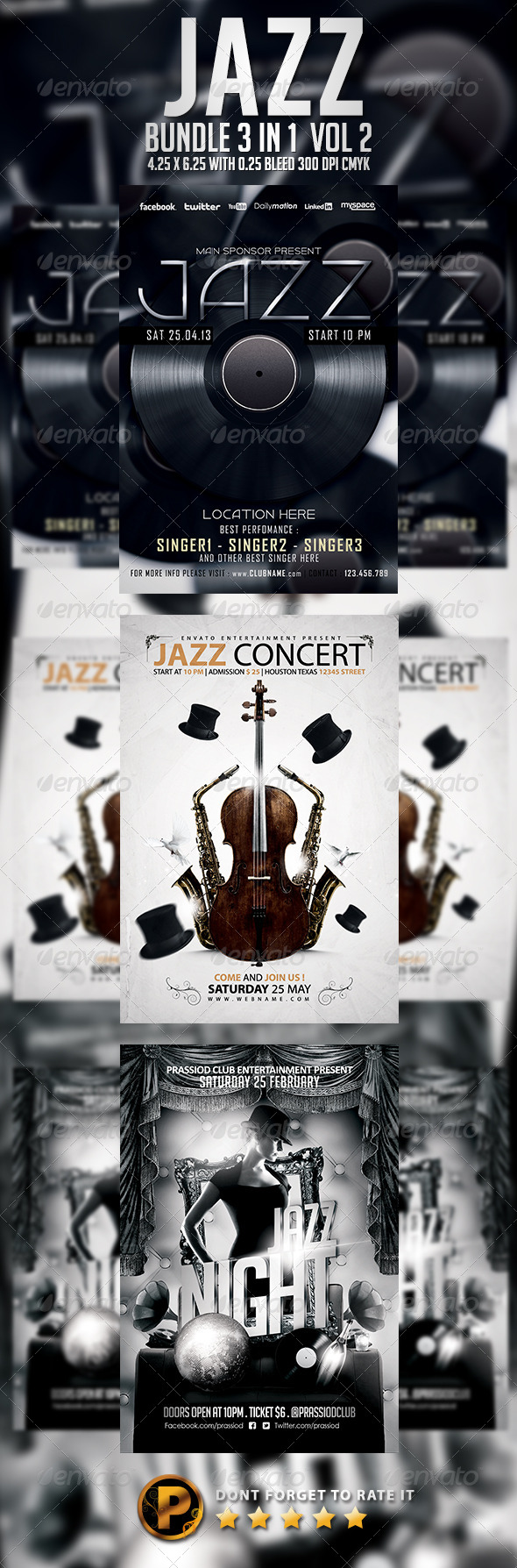 GraphicRiver Jazz Flyer Template Bundle 3 In 1 7113267