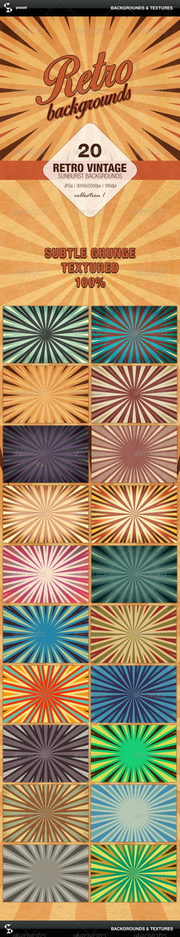 Retro Backgrounds Vintage Sunburst Collection 1