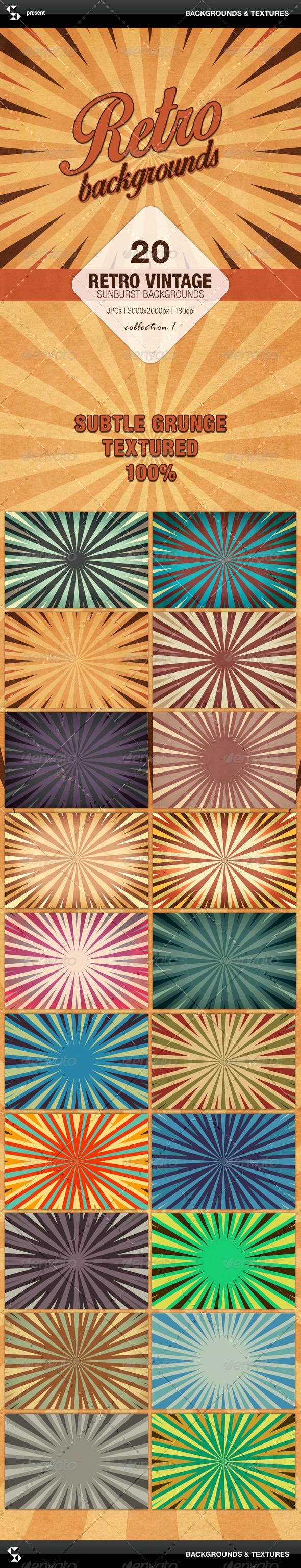 GraphicRiver Retro Backgrounds Vintage Sunburst Collection 1 7113284