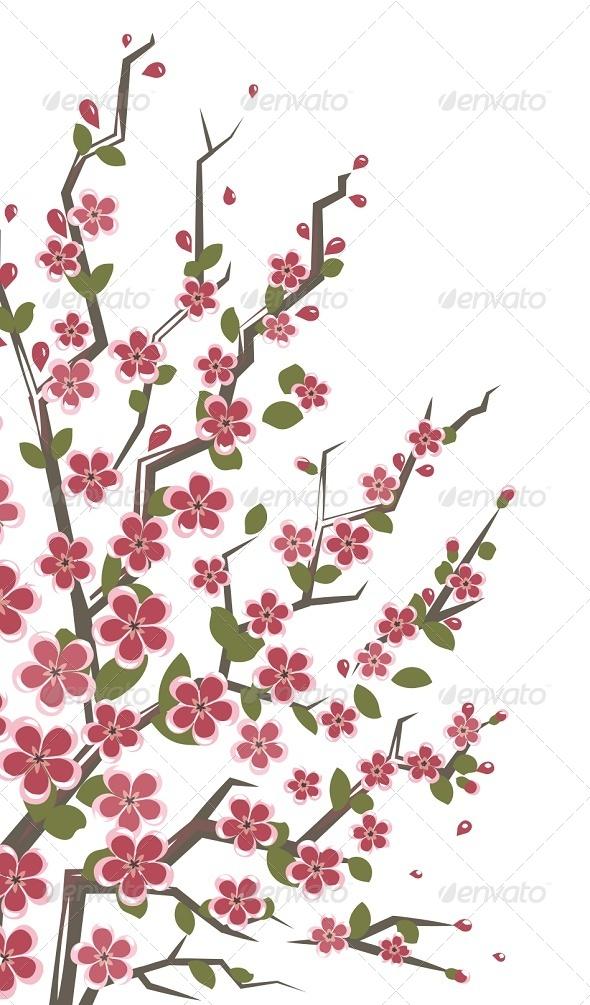GraphicRiver Sakura Branch Floral Background 7114043
