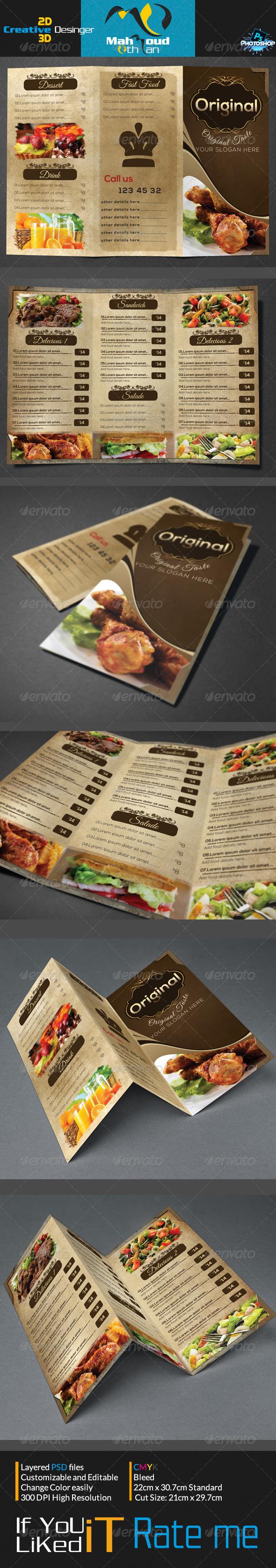 Vintage Trifold Restaurant Menu
