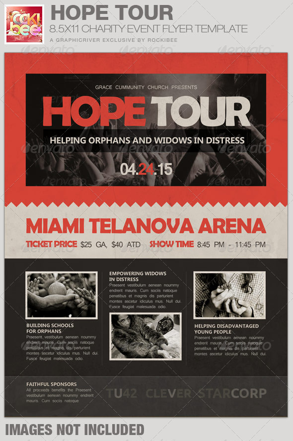 hope tour charity event flyer template graphicriver